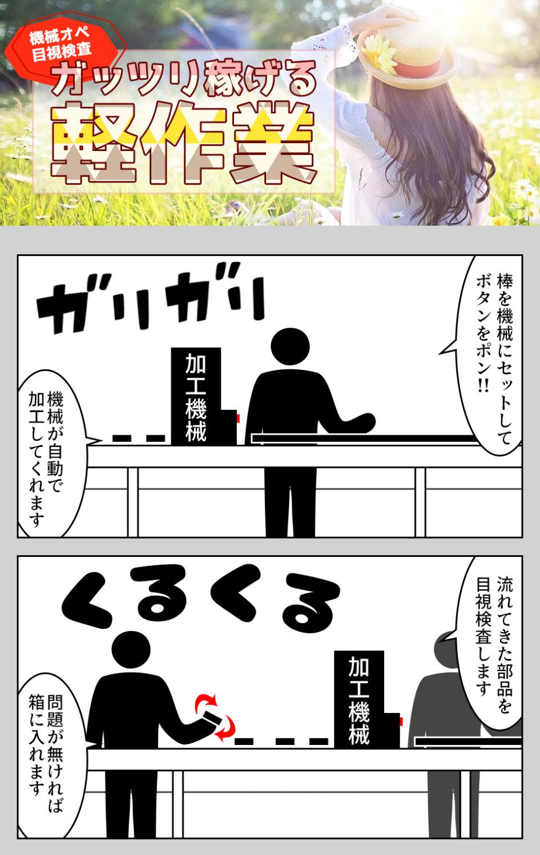 片手サイズの部品の機械オペ+目視検査 愛知県豊川市の派遣社員求人
