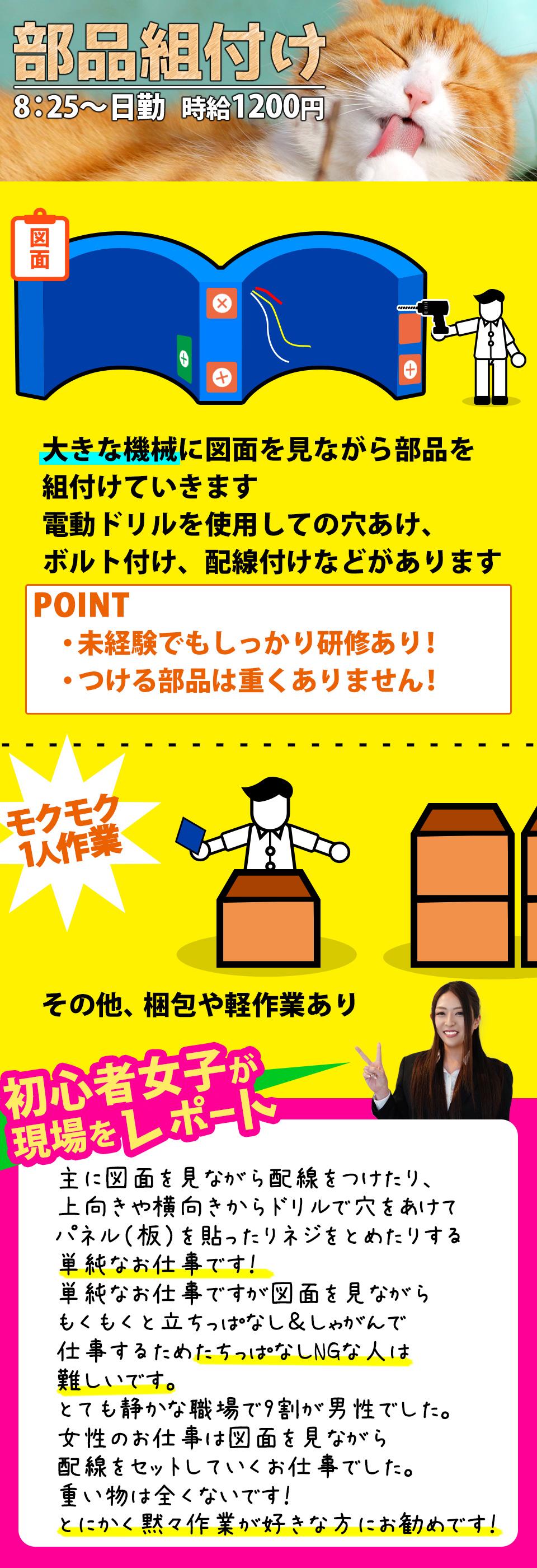 置いてある部品の組立 石川県白山市の派遣社員求人