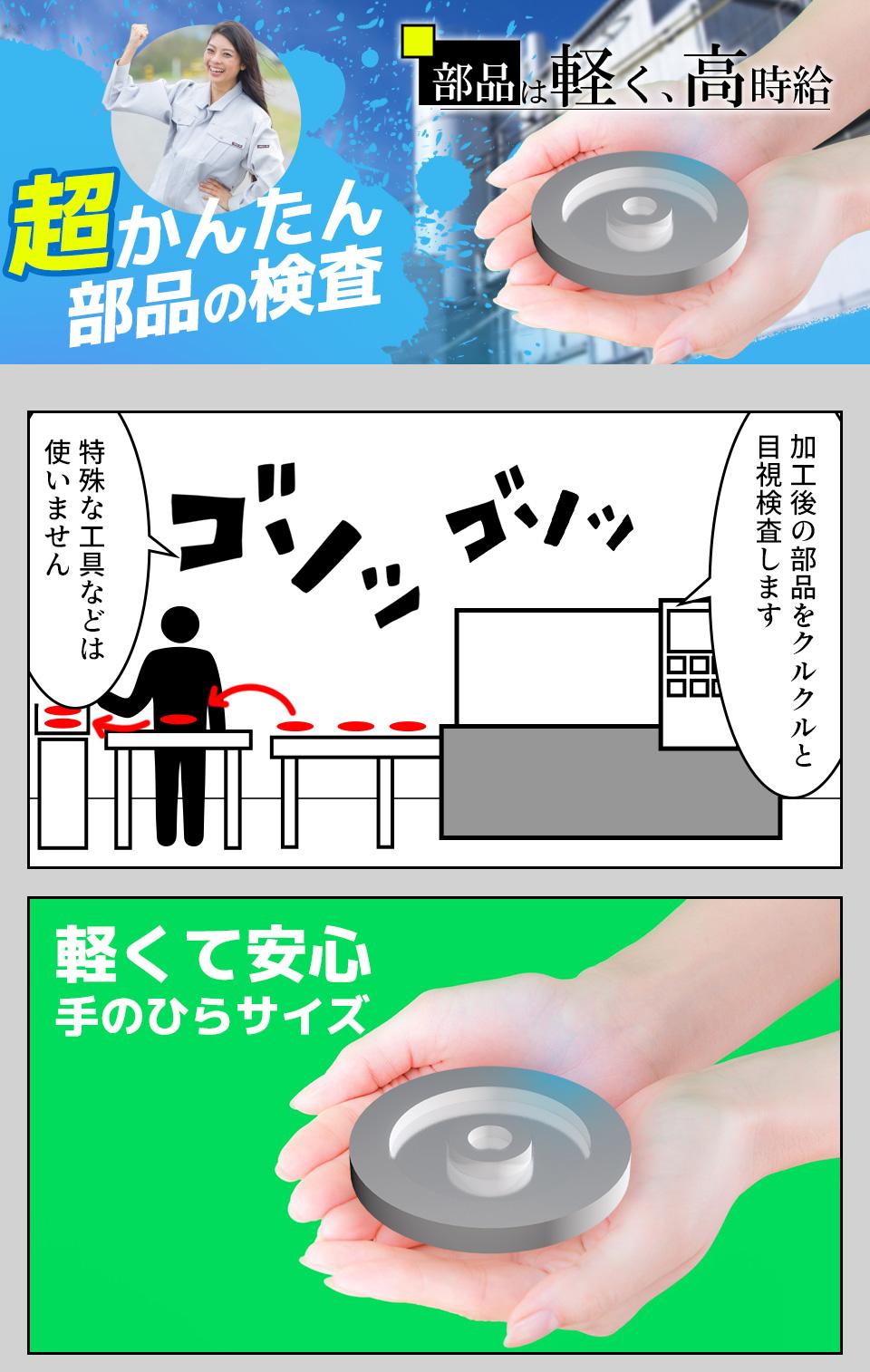 片手サイズの部品の目視検査 愛知県豊橋市の派遣社員求人